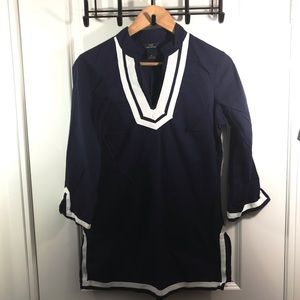 Brooks Brothers Medium Navy Blue and White Top